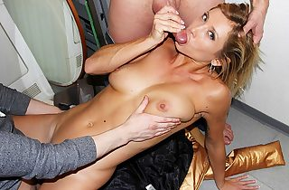 Horny youthfull naked girl works two rods